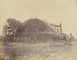 The Great Stupa from the north-west during repairs, Sanchi, Bhopal State